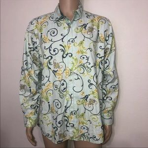 Tommy Bahama Silk Blend Abstract Dress Shirt Med